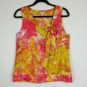 J Crew Impressionist Yellow Floral Silk Cami Top